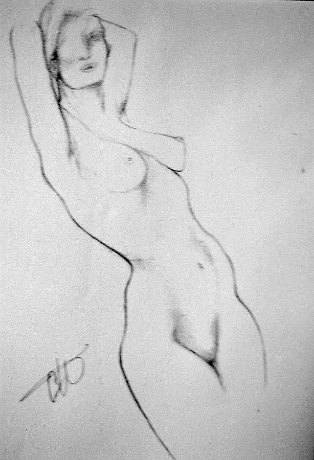 Nude. Drawing - Clare by Carole Osullivan