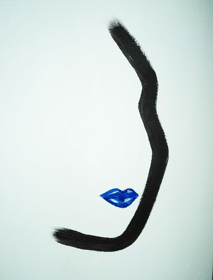 Female Face. Female Profile. Contemporary Art In Black And White Painting - Classic Cobalt by Joyce Carroll