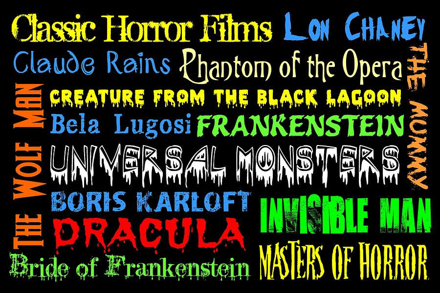 Classic Horror Films Digital Art  - Classic Horror Films Fine Art Print