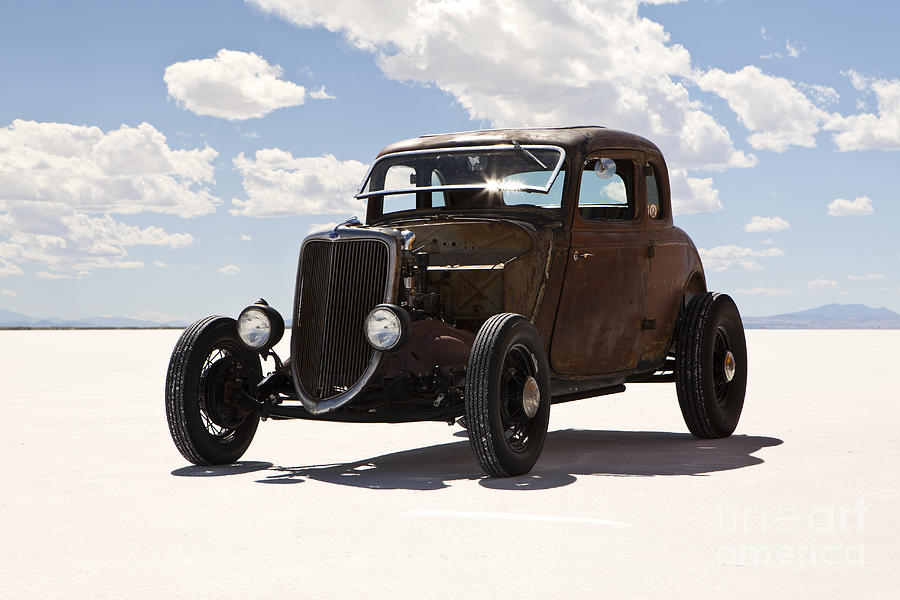 Classic Hotrod On Utah Salt Flats. Photograph