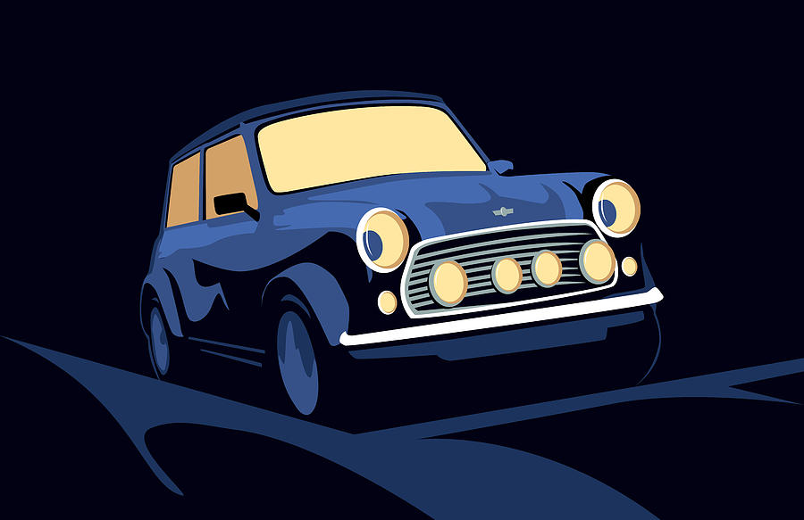 Classic Mini Cooper In Blue Digital Art  - Classic Mini Cooper In Blue Fine Art Print