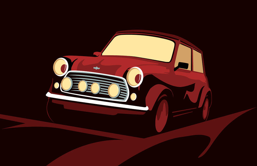 Classic Mini Cooper In Red Digital Art  - Classic Mini Cooper In Red Fine Art Print