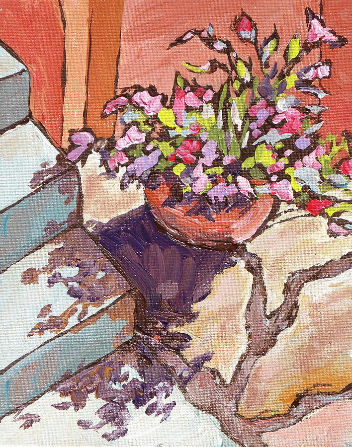 Steps Painting - Clay Pot by Sandy Tracey