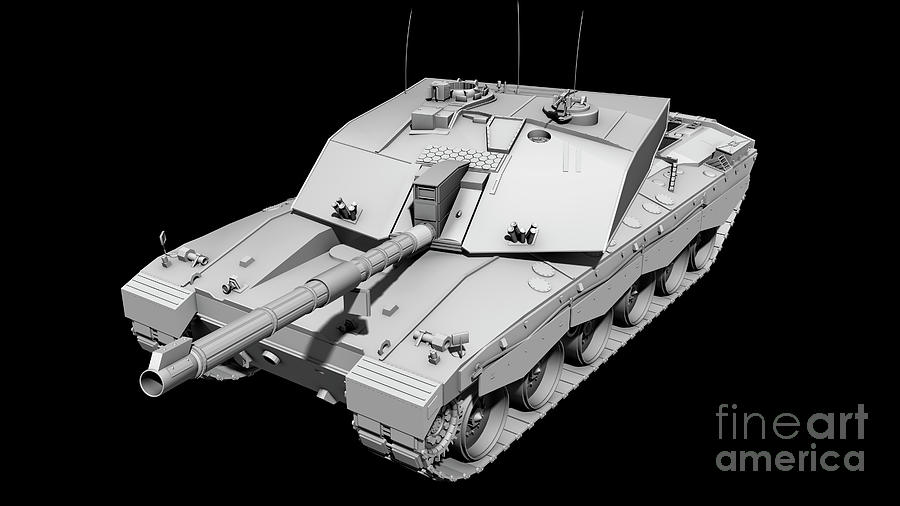 Clay Render Of A Challenger II Tank Digital Art