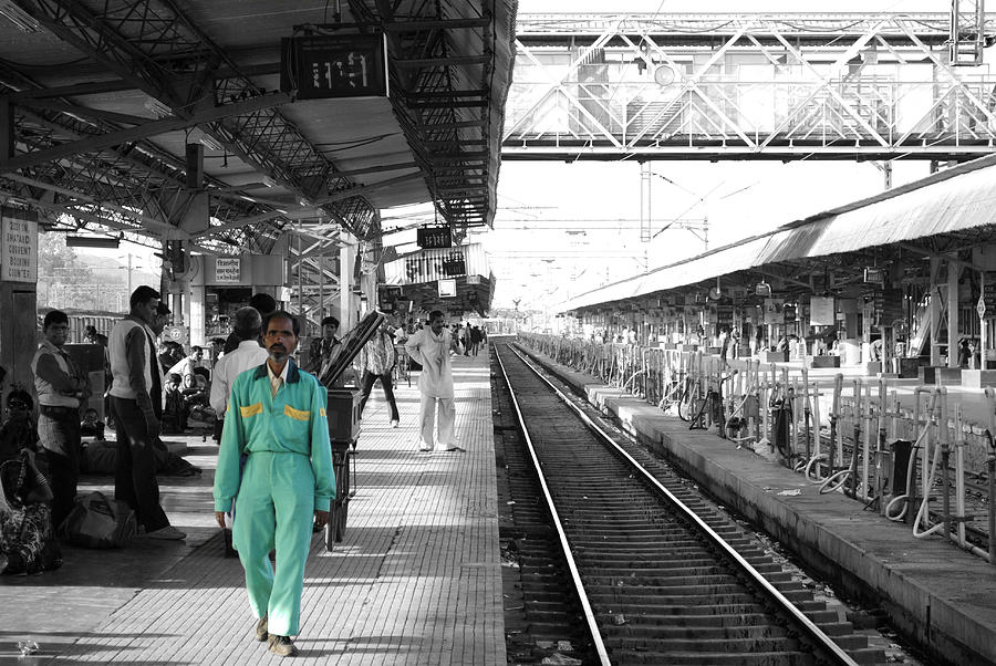 Cleaner At The Train Station Photograph