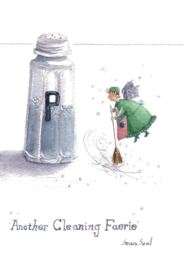 Cleaning Fairy Green Painting  - Cleaning Fairy Green Fine Art Print