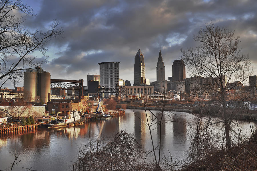 Cleveland Skyline From The River - Morning Light Photograph  - Cleveland Skyline From The River - Morning Light Fine Art Print