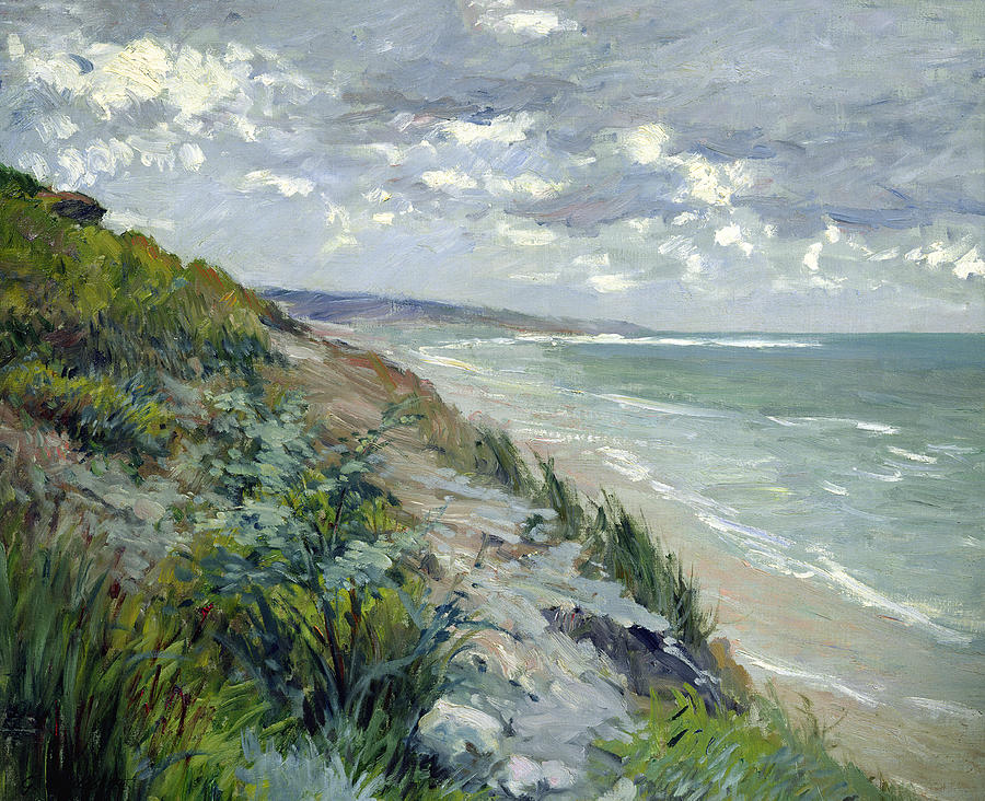 Cliffs By The Sea At Trouville  Painting  - Cliffs By The Sea At Trouville  Fine Art Print