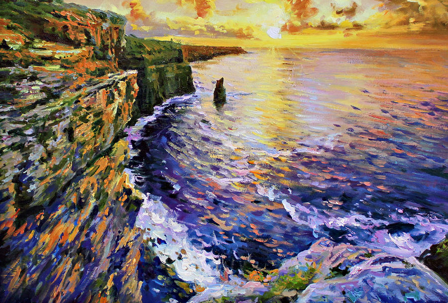 Cliffs Of Moher At Sunset Painting  - Cliffs Of Moher At Sunset Fine Art Print