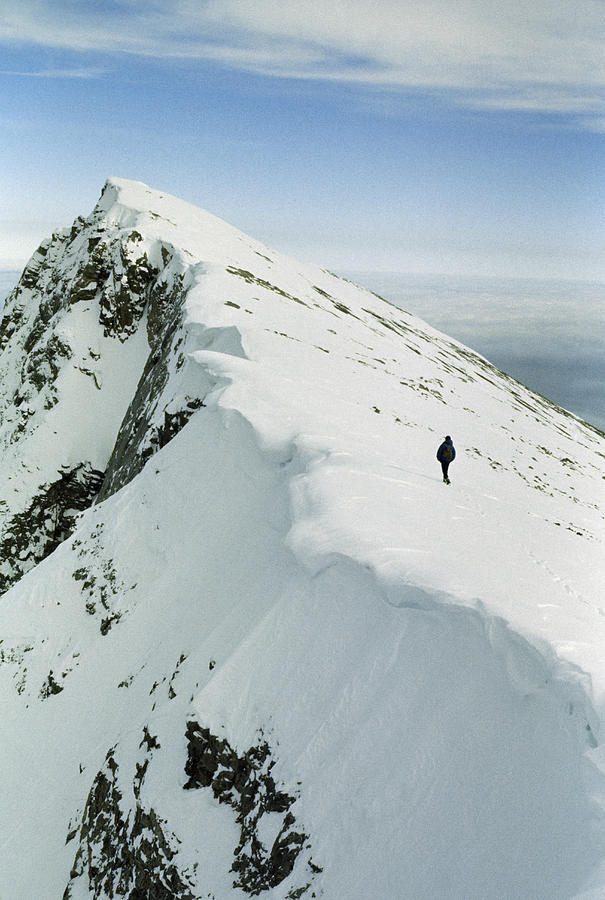 Color Image Photograph - Climber Approaches False Summit by Gordon Wiltsie