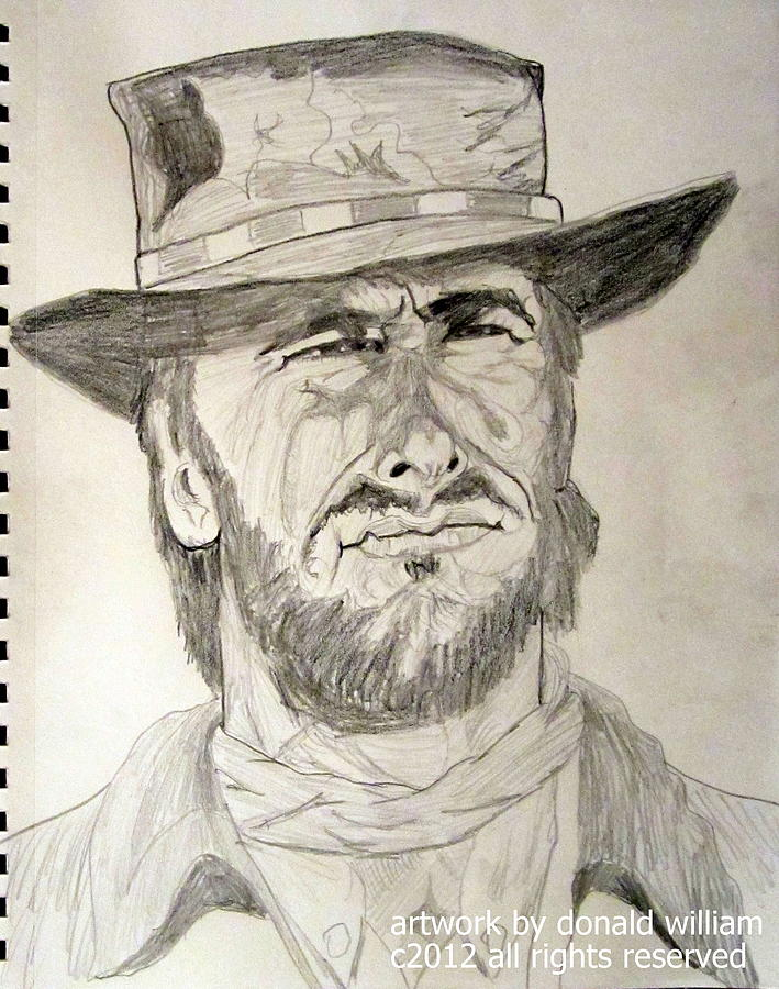 Clint Eastwood Portrait Sketch Drawing