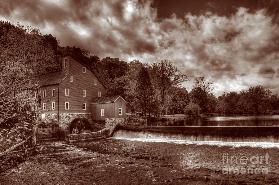 Sepia Photograph - Clinton Red Mill House Sepia by Lee Dos Santos