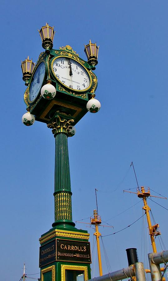 Clock At The Harbor Photograph  - Clock At The Harbor Fine Art Print
