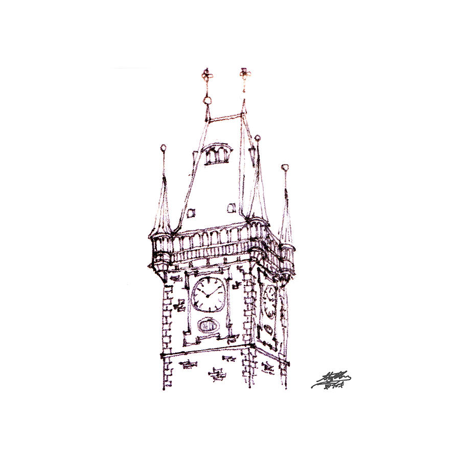 Clock Tower Drawing  - Clock Tower Fine Art Print