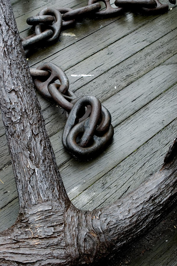 Close Up Of A Large Anchor And Chain Photograph