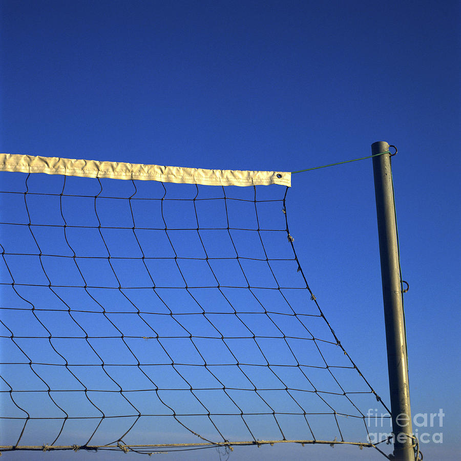 Close-up Of A Volleyball Net Abandoned. Photograph
