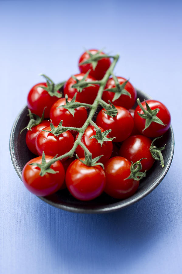 Close Up Of Bowl Of Cherry Tomatoes Photograph  - Close Up Of Bowl Of Cherry Tomatoes Fine Art Print