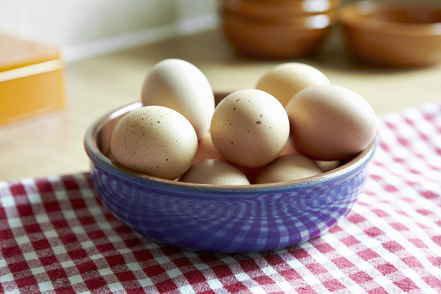 Close Up Of Bowl Of Eggs Photograph