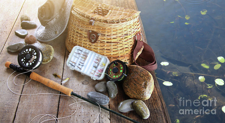 Close-up Of Fishing Equipment And Hat  Photograph  - Close-up Of Fishing Equipment And Hat  Fine Art Print