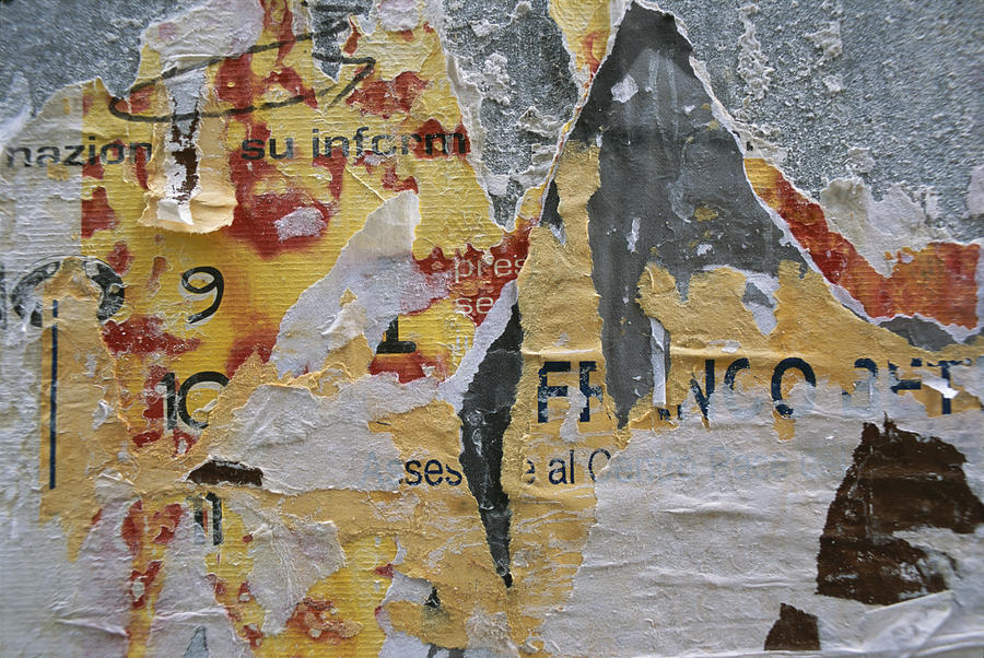 Close-up Of Torn Posters On A Wall Photograph  - Close-up Of Torn Posters On A Wall Fine Art Print