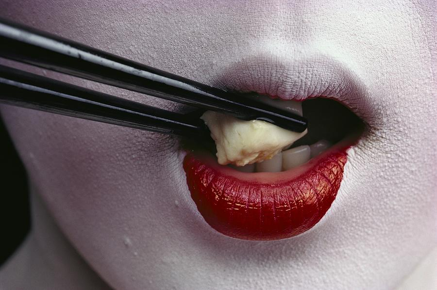 Close View Of A Geisha Eating Tofu Photograph  - Close View Of A Geisha Eating Tofu Fine Art Print