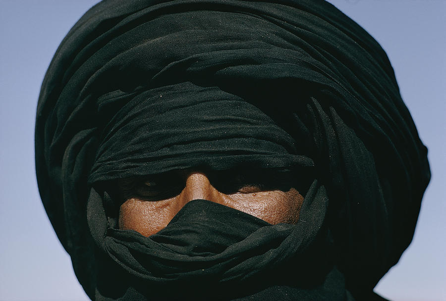 Close View Of A Turbaned Tuareg Man Photograph  - Close View Of A Turbaned Tuareg Man Fine Art Print