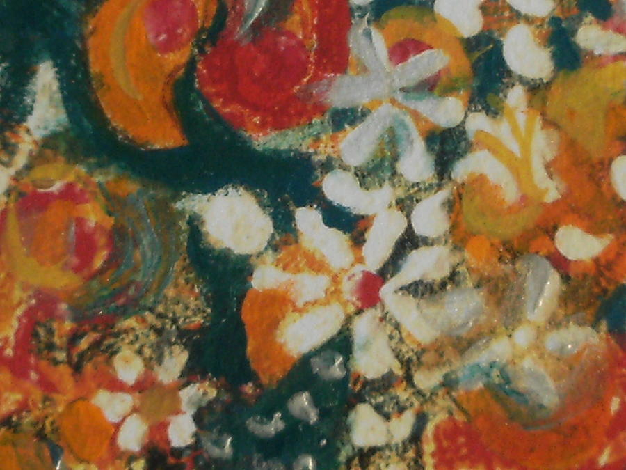 Orange Painting - Close View Of Decorative Painting by Anne-Elizabeth Whiteway