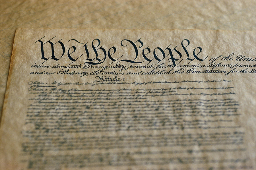 Close View Of The Us Constitution Photograph