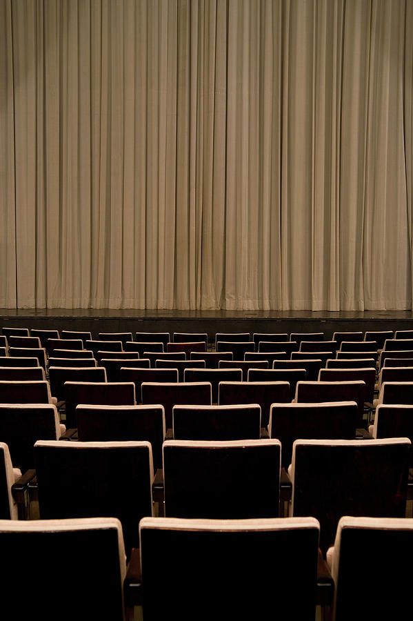 Closed Curtain In An Empty Theater Photograph