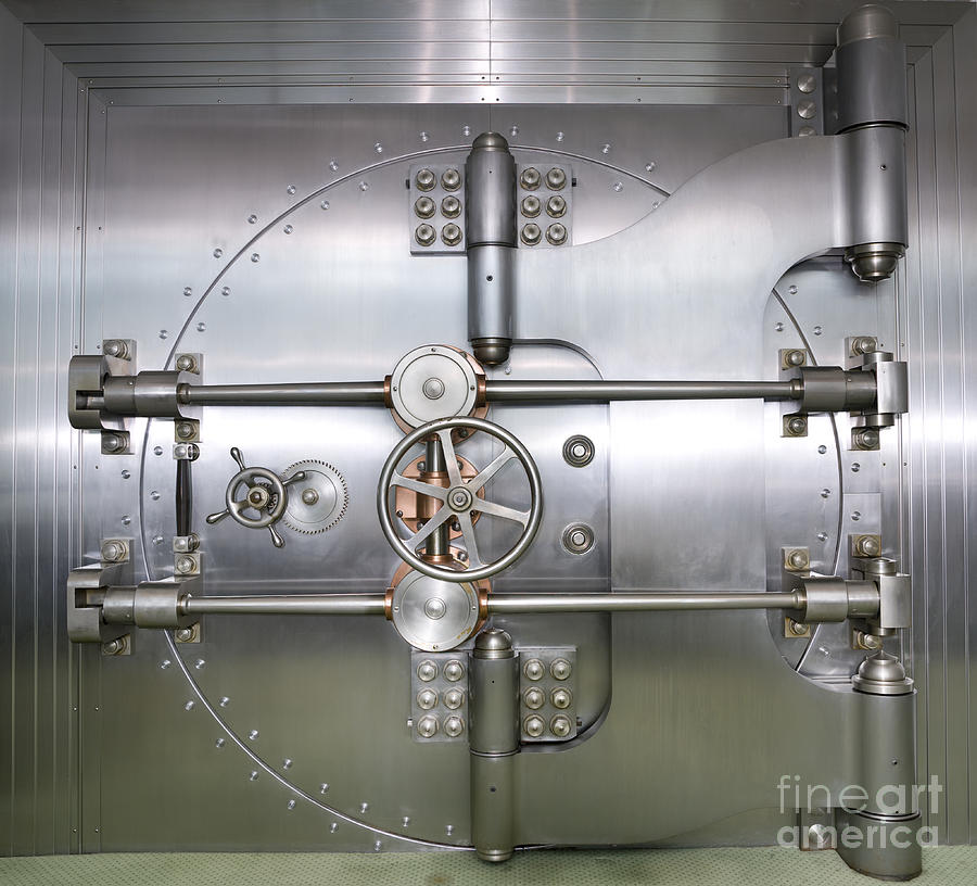 Closed Door To A Bank Vault Photograph