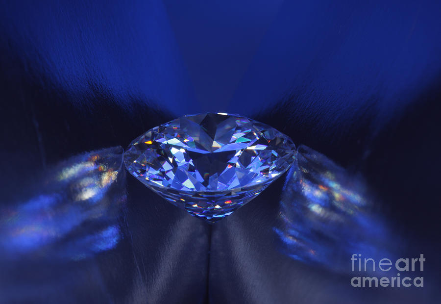 Closeup Blue Diamond In Blue Light. Jewelry  - Closeup Blue Diamond In Blue Light. Fine Art Print