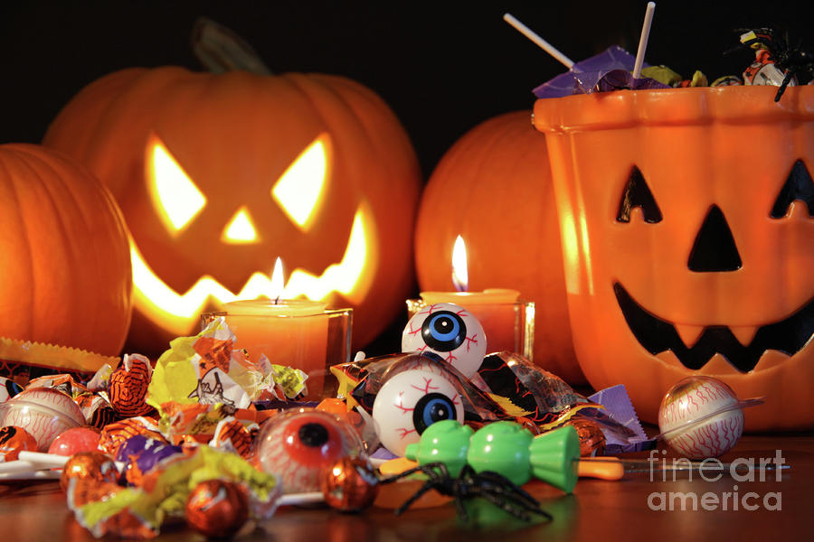 Closeup Of Candies With Pumpkins  Photograph  - Closeup Of Candies With Pumpkins  Fine Art Print