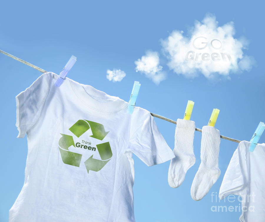 Clothes Drying On Clothesline With Go Green Sign  Photograph