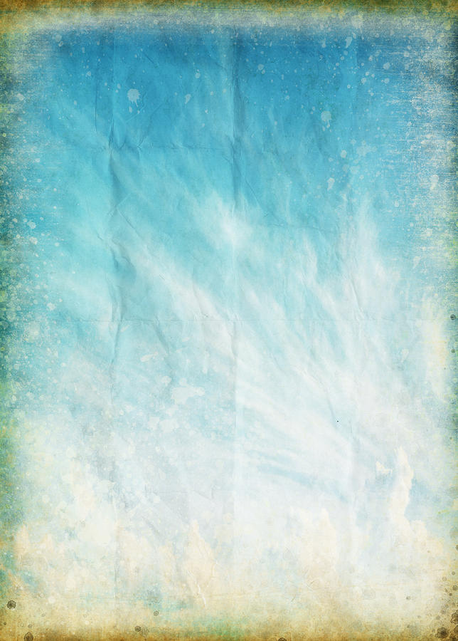 Cloud And Blue Sky On Old Grunge Paper Photograph