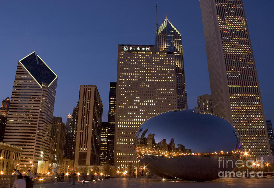 Cloud Gate At Night Photograph  - Cloud Gate At Night Fine Art Print