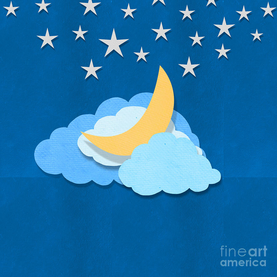 Cloud Moon And Stars Design Digital Art  - Cloud Moon And Stars Design Fine Art Print