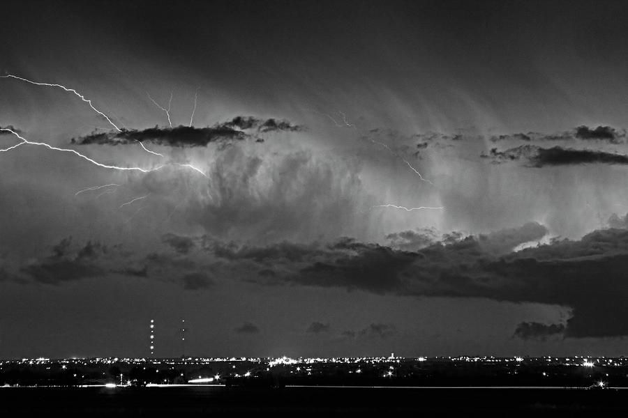 Cloud To Cloud Lightning Boulder County Colorado Bw Photograph