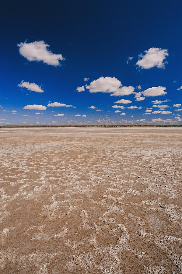Clouds Float In A Blue Sky Above A Dry Photograph