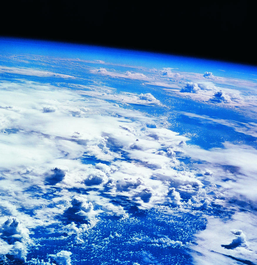 Square Photograph - Clouds Over Earth Viewed From A Satellite by Stockbyte