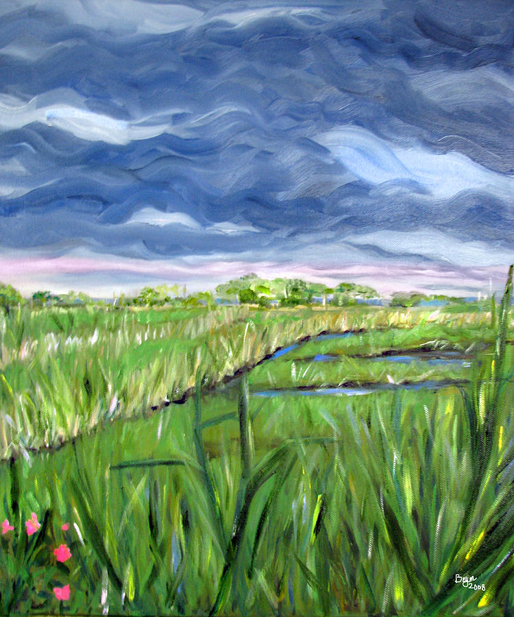 Cloudy Marsh Painting