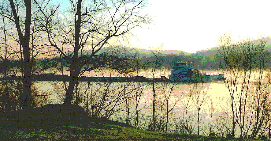 Coal Barge In Ohio River Mist Photograph  - Coal Barge In Ohio River Mist Fine Art Print