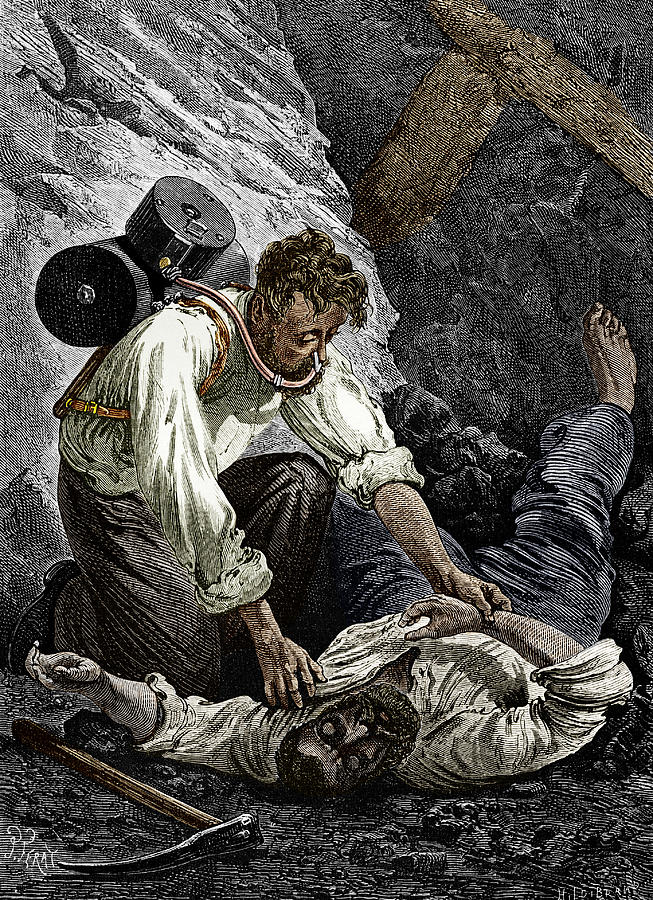 Coal Mine Rescue, 19th Century Photograph  - Coal Mine Rescue, 19th Century Fine Art Print