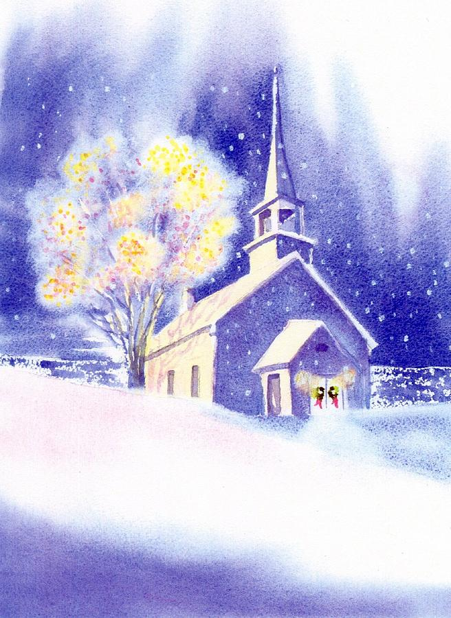 Coastal Church Christmas Painting  - Coastal Church Christmas Fine Art Print