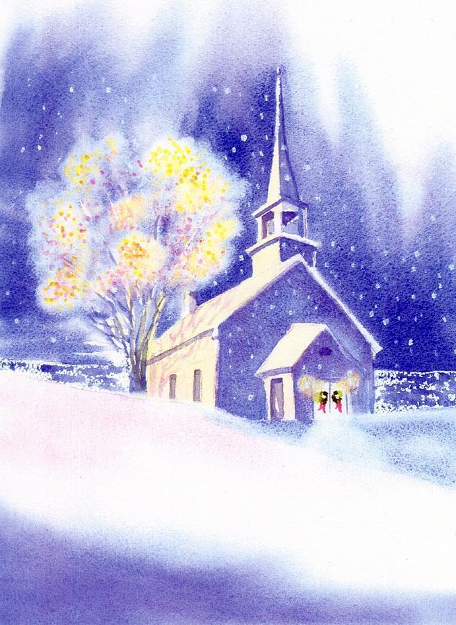 Coastal Church Christmas Painting