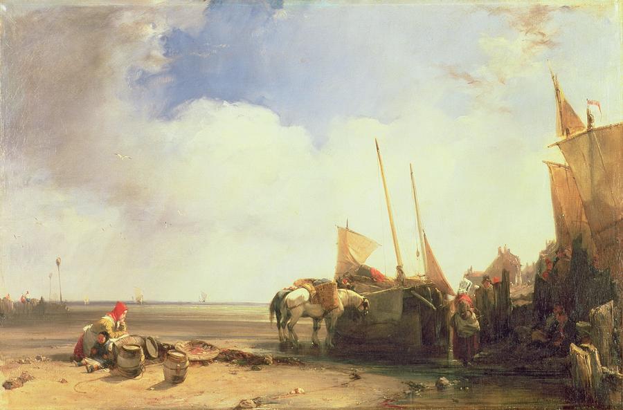 Beach Painting - Coastal Scene In Picardy by Richard Parkes Bonington