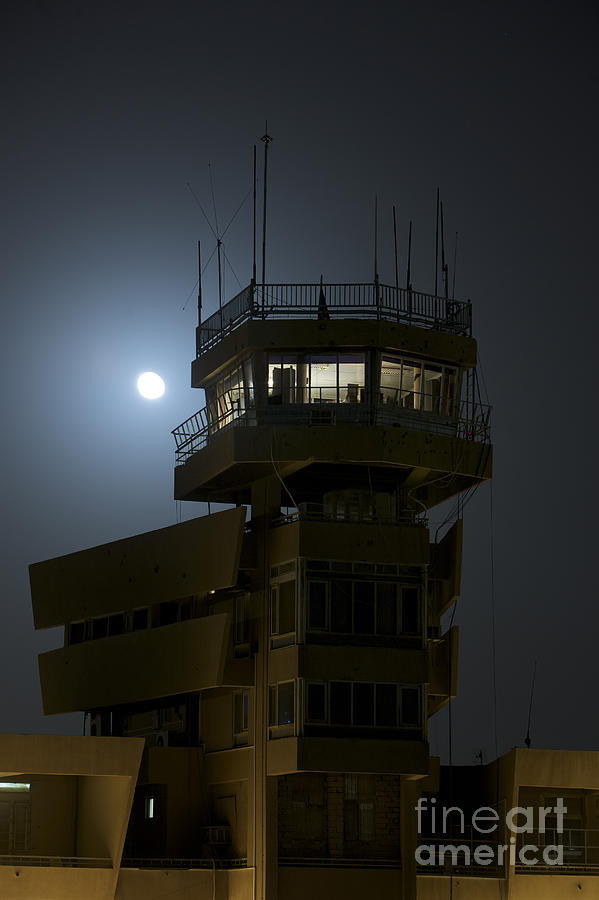 Cob Speicher Control Tower Under A Full Photograph  - Cob Speicher Control Tower Under A Full Fine Art Print