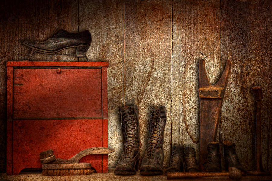 Cobbler - The Shoe Shiner 1900  Photograph  - Cobbler - The Shoe Shiner 1900  Fine Art Print