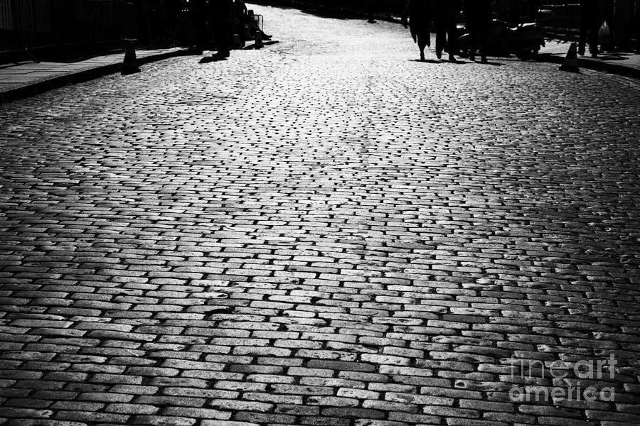 Cobbles Photograph - Cobblestoned Street On The Royal Mile Edinburgh Scotland Uk United Kingdom by Joe Fox