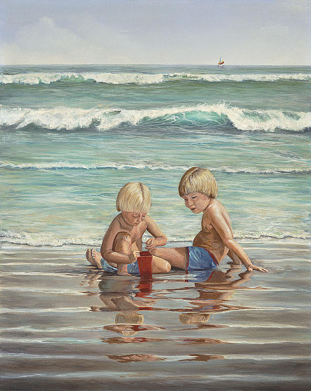 Sea Painting - Cocoa Beach Sandcastles by AnnaJo Vahle