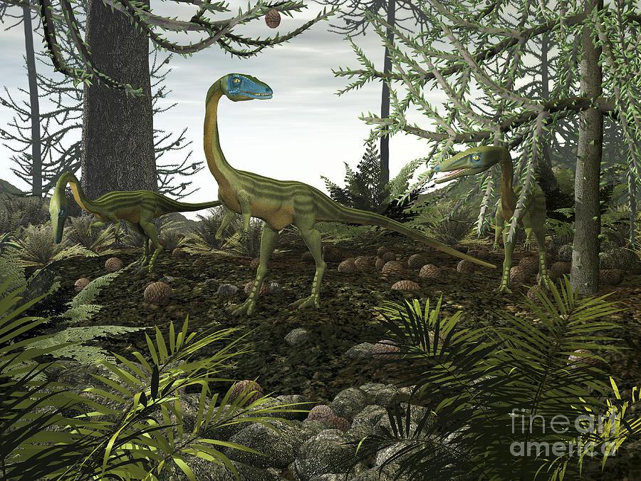 Earth Digital Art - Coelophysis Dinosaurs Walk Amongst by Walter Myers